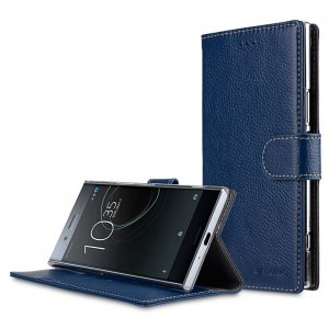 Premium Leather Case for Sony Xperia XZ Premium - Wallet Book Clear Type Stand (Dark Blue LC)