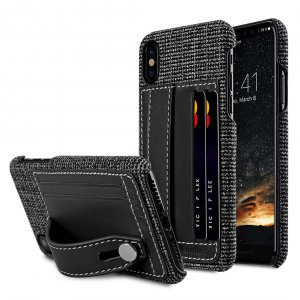 Holmes Series Fine Grid Genuine Leather Dual Card slot with stand Case for Apple iPhone X - Black
