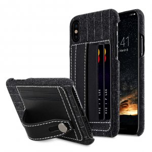 Holmes Series Heri Genuine Leather Dual Card slot with stand Case for Apple iPhone X - (Black)
