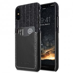 Holmes Series Heri Genuine Leather Snap Cover with Card slot Case for Apple iPhone X - (Black)