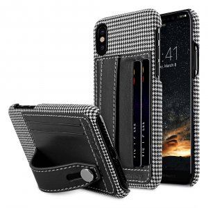 Holmes Series Tobacco Genuine Leather Dual Card slot with stand Case for Apple iPhone X - (Black)