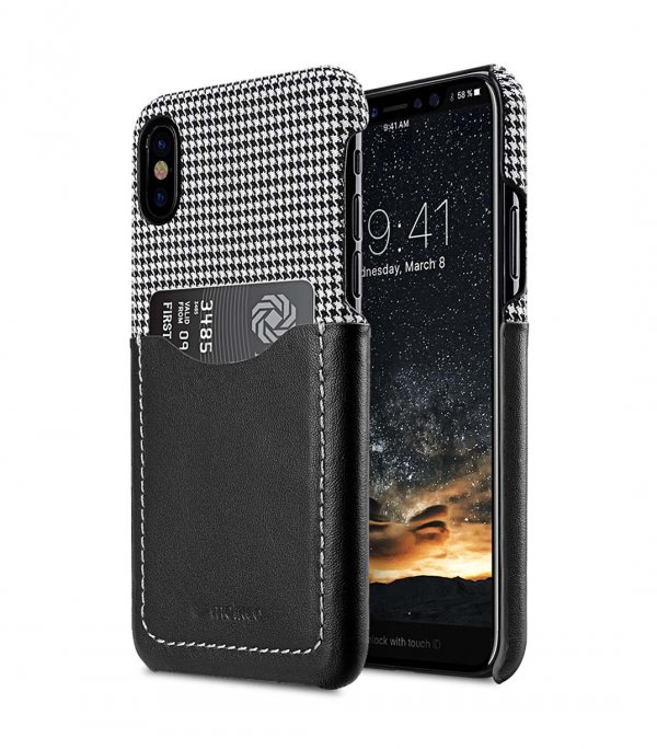 Holmes Series Tobacco Genuine Leather Snap Cover with Card slot Case for Apple iPhone X - (Black)