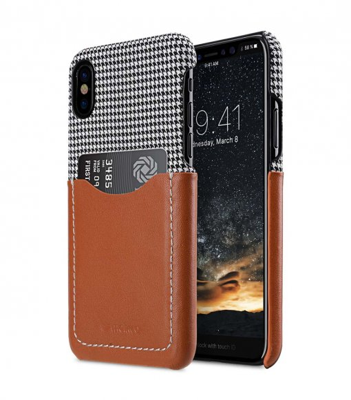 Holmes Series Tobacco Genuine Leather Snap Cover with Card slot Case for Apple iPhone X - (Brown)
