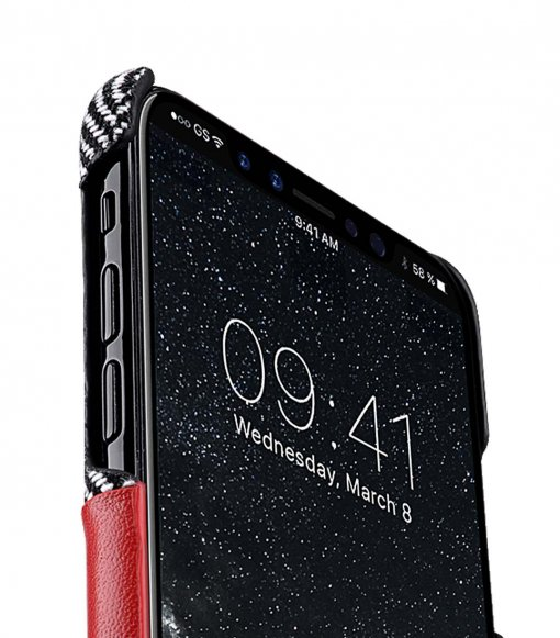 Holmes Series Venis Genuine Leather Card slot Snap Cover Case for Apple iPhone X - (Red)