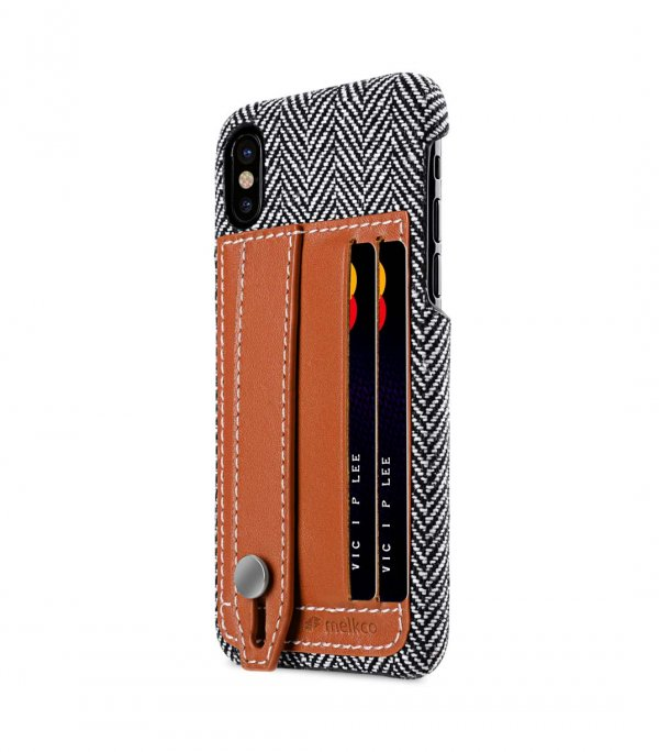 Holmes Series Fine Grid Genuine Leather Dual Card slot with stand Case for Apple iPhone X - (Brown)