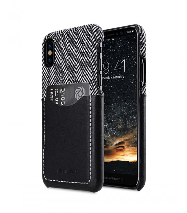 Holmes Series Venis Genuine Leather Snap Cover with Card slot Case for Apple iPhone X - (Black)