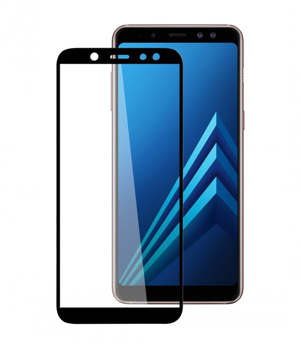 Melkco 3D Curvy 9H Tempered Glass Screen Protector for Samsung Galaxy A6 (2018) - (Black)