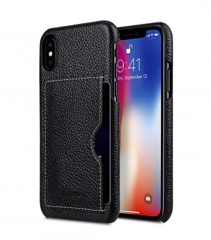 Premium Leather Card Slot Back Cover Case for Apple iPhone X / XS