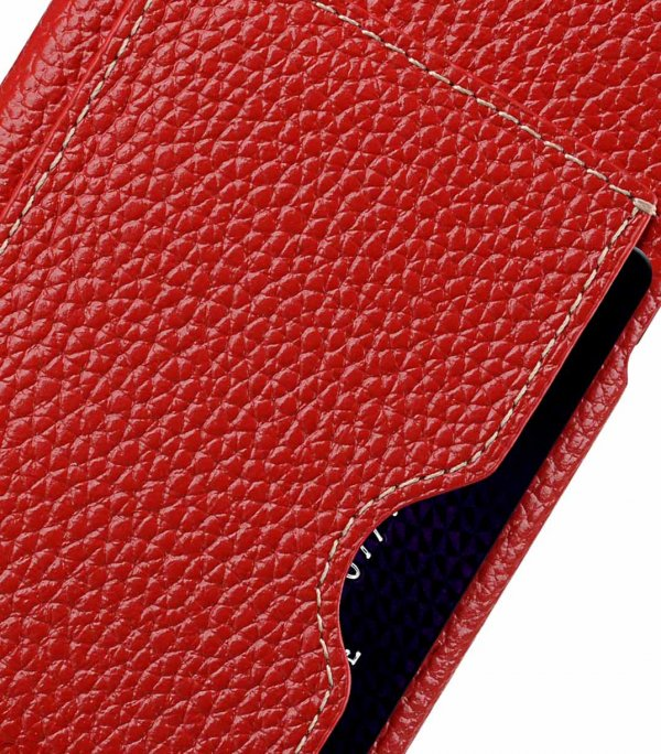 Premium Leather Card Slot Back Cover Case for Apple iPhone X - (Red LC)Ver.1