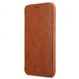 Melkco Elite Series Waxfall Pattern Premium Leather Coaming Facecover Back Slot Case for Apple iPhone XR - (Tan WF)