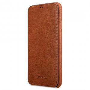 Melkco Premium Leather Coaming Facecover Back Slot Case for Apple iPhone XS Max - (Tan WF)