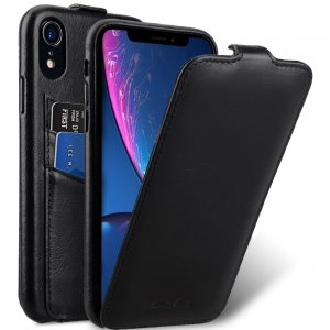 Melkco Elite Series Waxfall Pattern Premium Leather Coaming Jacka Pocket Case for Apple iPhone XR - (Black WF)