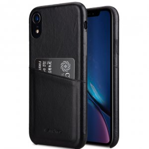 Melkco Elite Series Waxfall Pattern Premium Leather Coaming Pocket Case for Apple iPhone XR - (Black WF)