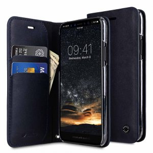Melkco Fashion Cocktail Series Slim Flip Premium Leather Case for Apple iPhone X - (Italian Navy)