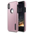 Melkco Kubalt Series Double Layer Pro (Apple Logo Visible) Case for Apple iPhone X – ( Rose Gold / Black )