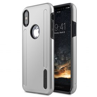 Melkco Kubalt Double Layer Pro (Apple Logo Visible) Case for Apple iPhone X – ( Silver / Black )