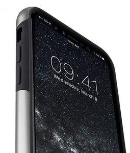 Melkco Kubalt Double Layer Pro (Apple Logo Visible) Case for Apple iPhone X - ( Silver / Black )