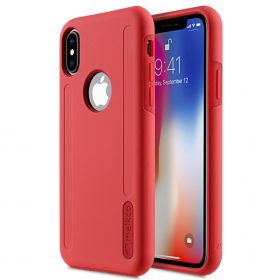Melkco Kubalt Series Double Layer Pro (Apple Logo Visible) Case for Apple iPhone X – ( Red / Red )