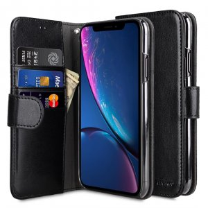 Melkco Mini PU Leather Wallet Book Clear Type Case for Apple iPhone XR - (Black)