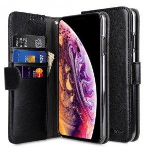 Melkco Mini PU Leather Wallet Book Clear Type Case for Apple iPhone XS Max - (Black)