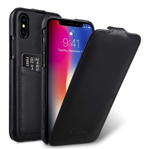Melkco Premium Leather Case for Apple iPhone X - Jacka Back Pocket (Black)