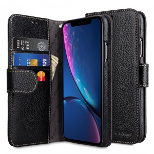 Melkco Premium Leather Case for Apple iPhone XR- Wallet Book Type (Black LC)