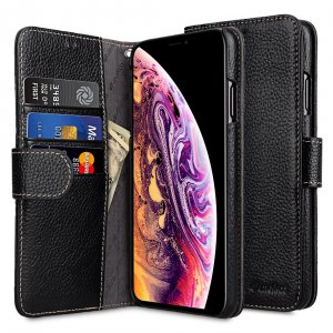 Melkco Premium Leather Case for Apple iPhone XS Max - Wallet Book Type (Black LC)