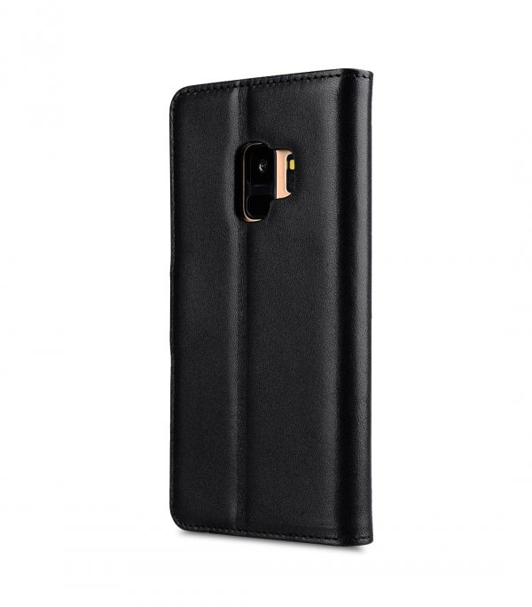 Melkco Premium Leather Case for Samsung Galaxy S9 - Wallet Book Clear Type Stand (Black)