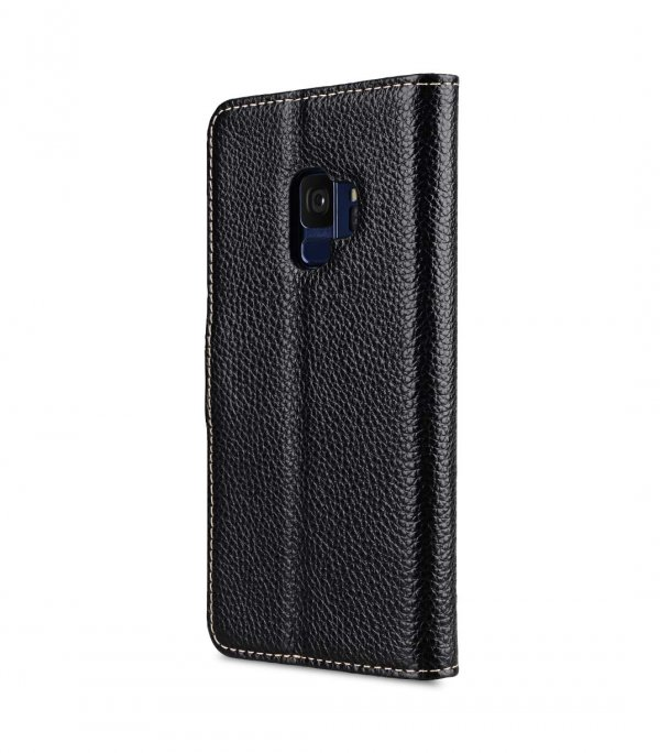 Melkco Premium Leather Case for Samsung Galaxy S9 - Wallet Book Clear Type Stand (Black LC)