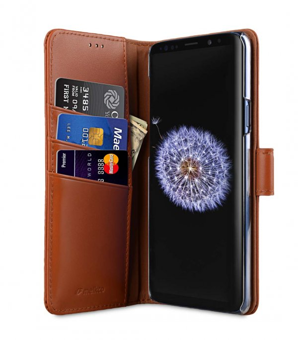 Melkco Premium Leather Case for Samsung Galaxy S9 - Wallet Book Clear Type Stand (Brown CH)