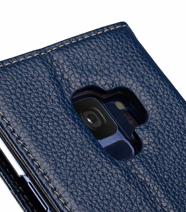 Melkco Premium Leather Case for Samsung Galaxy S9 - Wallet Book Clear Type Stand (Dark Blue LC)