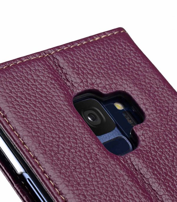 Melkco Premium Leather Case for Samsung Galaxy S9 - Wallet Book Clear Type Stand (Purple LC)