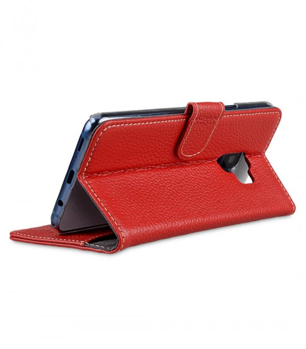 Melkco Premium Leather Case for Samsung Galaxy S9 - Wallet Book Clear Type Stand (Red LC)