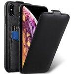 Melkco Premium Leather Coaming Jacka Pocket Case for Apple iPhone XS Max - (Black WF)