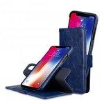 Melkco PU Leather Case for Apple iPhone X - Alphard Wallet Type (Dark Blue CH PU)