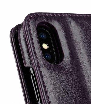 Melkco PU Leather Case for Apple iPhone X - Alphard Wallet Type (Purple CH PU)