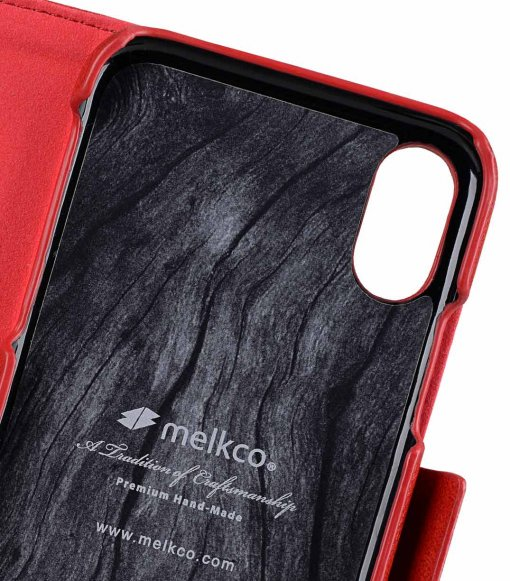 Melkco PU Leather Case for Apple iPhone X - Alphard Wallet Type (Red CH PU)
