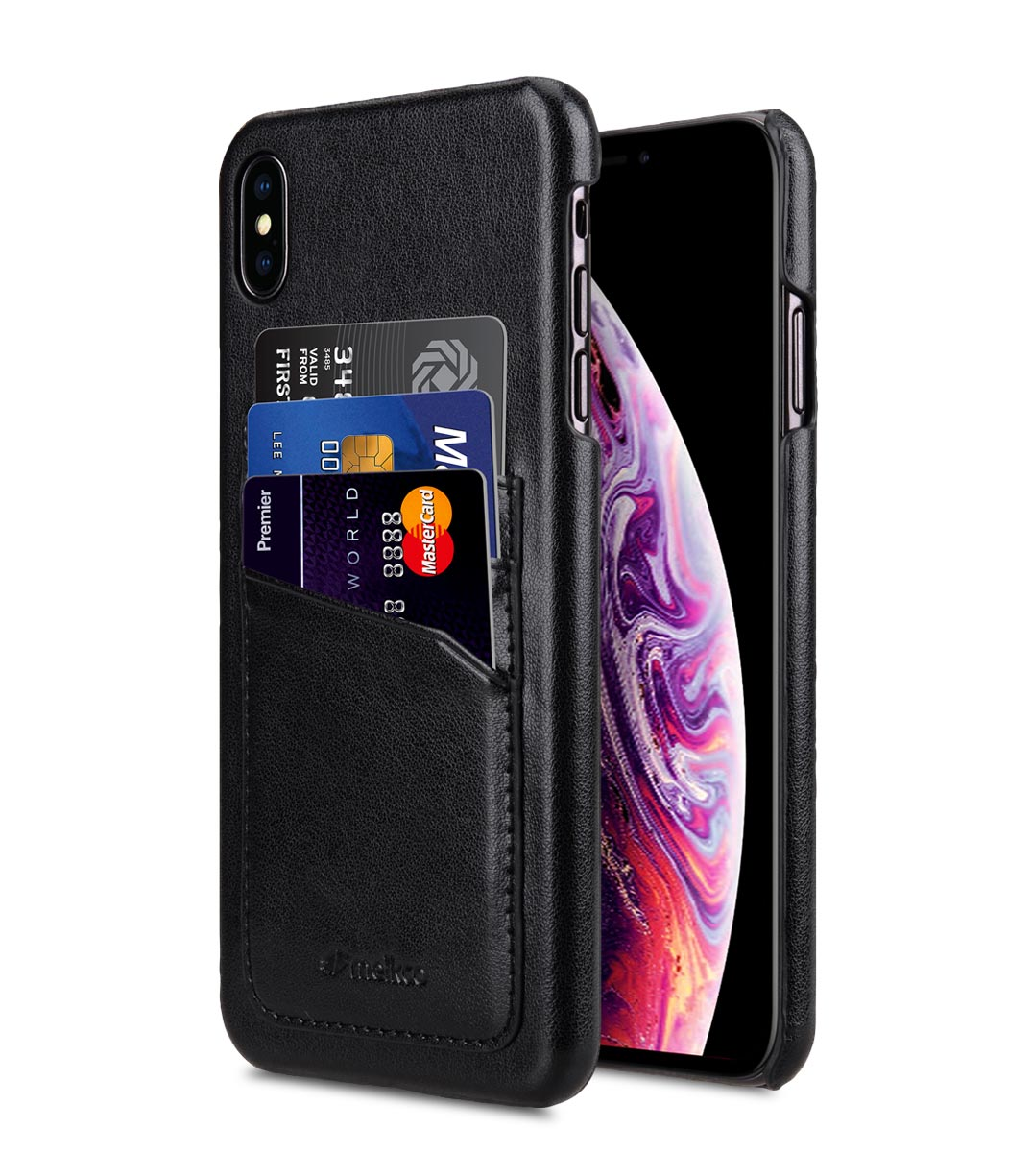 super popular 9827b 13556 PU Leather Triple Card Slots Back Cover Case for Apple iPhone XS Max -  (Black)