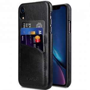 Melkco PU Leather Triple Card Slots Back Cover Case for Apple iPhone XR - (Black)