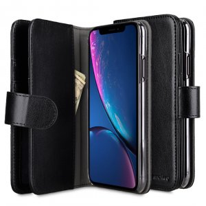 Melkco PU Leather Wallet Plus Book Type Case for Apple iPhone XR - (Black)
