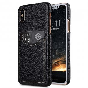 Premium Leather Card Slot Cover Case for Apple iPhone X - (Black LC)Ver.2