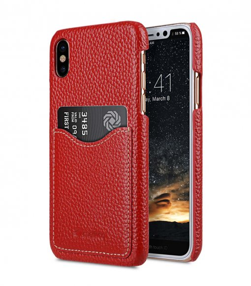 Premium Leather Card Slot Cover Case for Apple iPhone X - (Red LC)Ver.2