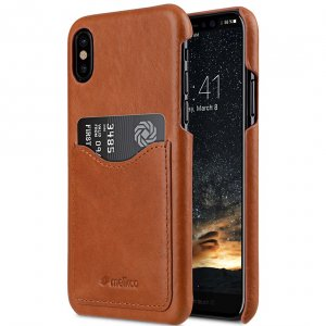 Premium Leather Card Slot Cover Case for Apple iPhone X - Tan Waxfall