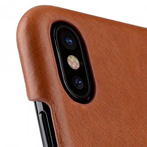 Premium Leather Card Slot Cover Case for Apple iPhone X - (Tan WF)Ver.2