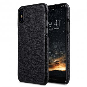 Premium Leather Snap Cover Case for Apple iPhone X - Black Lai Chee Pattern