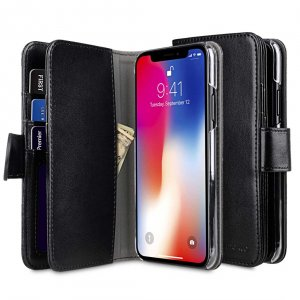 PU Leather Wallet Plus Book Type Case for Apple iPhone X / XS - (Black PU)