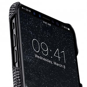 Holmes Series Fine Grid Genuine Leather Dual Card slot with stand Case for Apple iPhone X - (Black)
