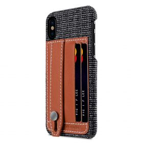 Holmes Series Fine Grid Genuine Leather Dual Card slot with stand Case for Apple iPhone X – (Brown)