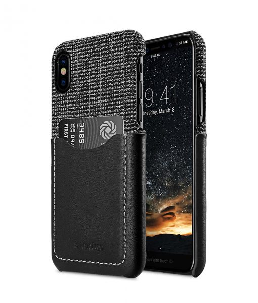 Holmes Series Fine Grid Genuine Leather Snap Cover with Card slot Case for Apple iPhone X / XS
