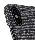 Holmes Series Fine Grid Genuine Leather Snap Cover with Card slot Case for Apple iPhone X – (Black)